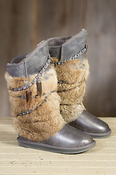 Women's Australia Luxe Collective Atilla Metallic Shearling Sheepskin Boots with Rabbit Fur