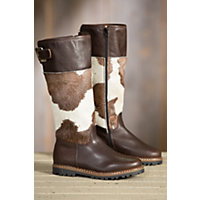 Women's Ammann Bern Cowhide Leather Boots, BROWN/BROWN & WHITE