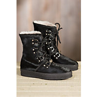 Women's Ammann Zermatt Shearling-Lined Cowhide Leather Boots, BLACK COWHIDE