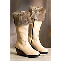 Women's Becca Wool-Lined Waterproof Italian Leather Boots with Rabbit Fur Trim, BEIGE