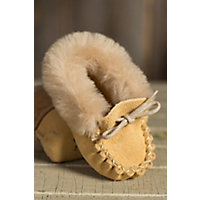 Babys Martino Shearling Lined Suede Moccasin Slipper Booties SAND Size 0