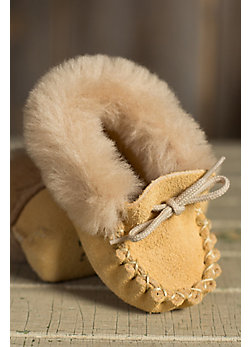 Baby's Martino Suede Leather Moccasin Booties with Shearling Lining