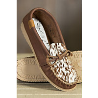 Womens Martino Animoc Pony Print Leather Moccasin Slippers PONY BROWN Size 10