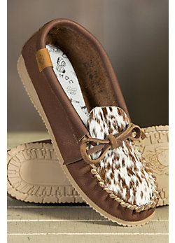 Women's Animoc Pony Print Leather Moccasin Slippers