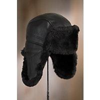 Shearling Sheepskin Trapper Hat, BLACK TONE ON TONE
