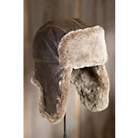Shearling Sheepskin Trapper Hat, BROWN BRIESA