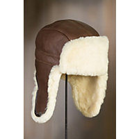 Shearling Sheepskin Trapper Hat, BROWN/NATURAL