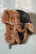 Leather and Nylon Aviator Hat with Rabbit Fur Trim