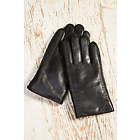 "Men's Premium Lambskin Leather Gloves with Shearling Lining, BLACK/TAN, Size LARGE  (8.75 - 9.5"")"