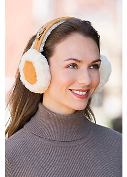 Shearling Sheepskin and Suede Earmuffs
