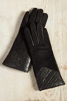 Women's Shearling Sheepskin Quilted Gloves
