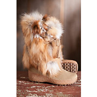 Women's Pajar Fox Trot Cowhide and Fox Fur Boots, BEIGE, Siz