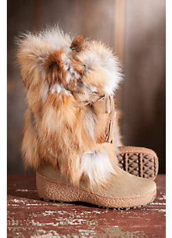 Women's Fox Trot Leather and Fox Fur Boots