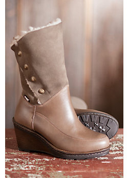 Women's College Leather Wedge Boots with Shearling Lining