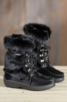 Women's Pajar Bionda Cowhide and Rabbit Fur Boots with Shearling Lining