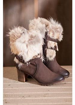 Women's Rosaria in Italy Leather Boots with Rabbit Fur Trim