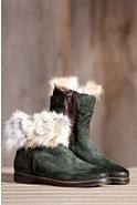 Women's Manas Aletra Suede Boots with Rabbit Fur Trim