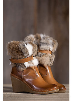 Women's Manas Marta Leather Wedge Boots with Rabbit Fur Trim