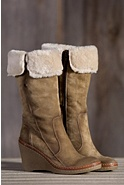 Women's Manas Dona Wedge Suede Boots with Shearling Trim