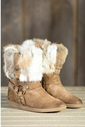 Women's Manas Giana Suede Harness Boot with Rabbit Fur Trim