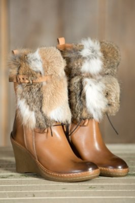 Women's Manas Consolata Leather Boots with Rabbit Fur Trim