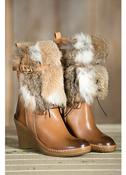 Women's Manas Rabbit Fur Trimmed Ankle Boots