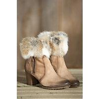 Womens Manas Letizia Suede Boots with Rabbit Fur Trim LEPRE Size EU37