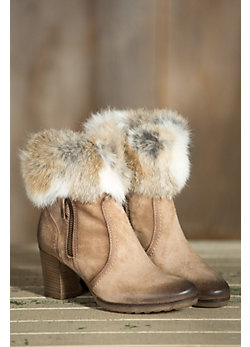 Women's Manas Rabbit Fur Trimmed Suede Boots