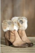 Women's Manas Letizia Suede Boots with Rabbit Fur Trim