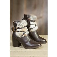 Womens Manas Fina Leather Boots with Rabbit Fur Trim T MORO Size EU37