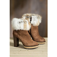 Women's Overland Lavone Suede Ankle Boots with Rabbit Fur Trim, MORO