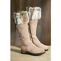 Women's Overland Reba Tall Leather Boots with Rabbit Fur Trim, CIOCO