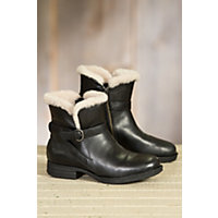 Women's Born Kaia Shearling-Lined Leather Boots, BLACK