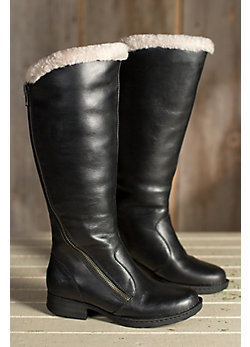 Women's Born Muna Leather Boots with Shearling Lining