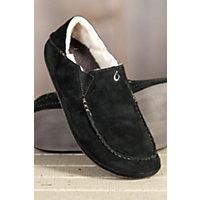 Men's OluKai Moloa Sheepskin Slippers, BLACK/BLACK