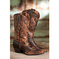 Women's Ariat Rhinestone Leather Cowboy Boots, Sassy Brown, Size 7 Western & Country