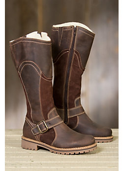 Women's Bos & Co Outercity Tall Leather Boots with Shearling Lining