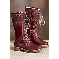 Bos & Co Holden Wool-Lined Waterproof Leather Boots, RED