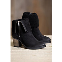 Bos & Co Beverly  Waterproof Suede Boots with Shearling Collar, BLACK SUEDE/BLACK CURLY