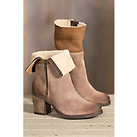 Women's Bos & Co Beverly (Overland Edition) Waterproof Suede Boots with Shearling Collar, TAUPE/NATURAL