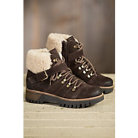 Women's Bos & Co Gail (Overland Edition) Wool-Lined Waterproof Leather Boots with Shearling Collar, DARK BROWN/NATURAL