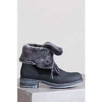 Bos & Co Springfield  Wool-Lined Leather Boots with Shearling Trim, BLACK/BLACK BRIESA