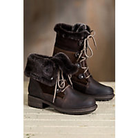 Bos & Co Springfield  Wool-Lined Leather Boots with Shearling Trim, DARK BROWN/BROWN BRIESA