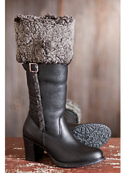 Women's Juliana Tall Waterproof Leather Boots with Shearling Lining