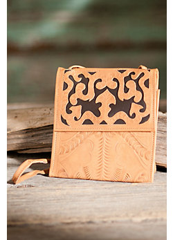 Women's Hand-Tooled Leather Passport Handbag