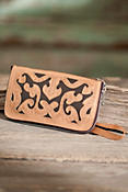 Women's Hand-Tooled Leather Clutch Wallet