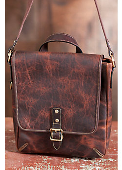 Oil-Tanned Bison Leather Slim Messenger Bag