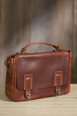 Coronado Americana Leather Messenger Bag with Concealed Carry Pocket