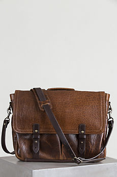 Coronado American Bison Leather Messenger Bag with Concealed Carry Pocket