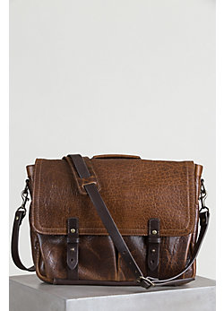 Coronado Bison Leather Messenger Bag with Concealed Carry Pocket